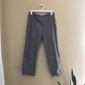 Pants - Gingham High-Waisted, Cropped Pants